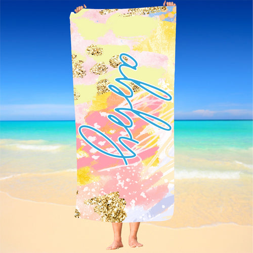 Personalized Coral And Aqua  Beach Towel
