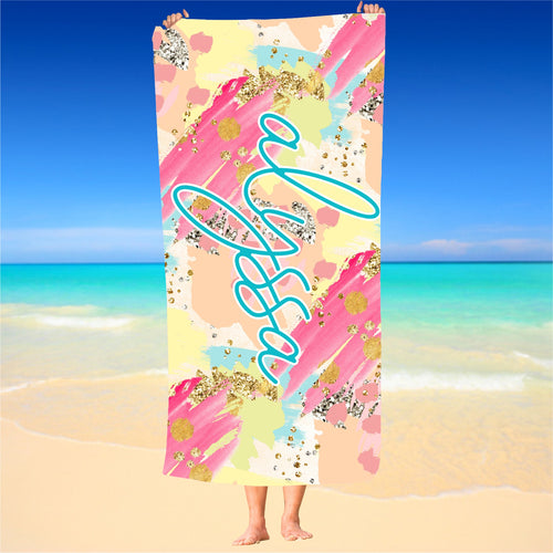 Personalized Turquoise and Hot Pink Beach Towel