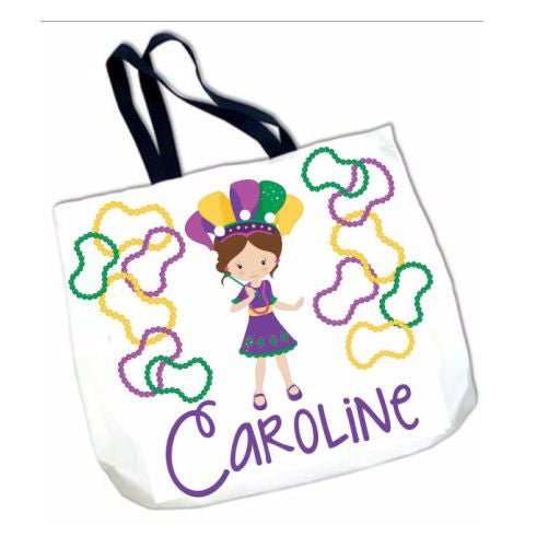 Personalized Mardi Gras Bead Tote Bag