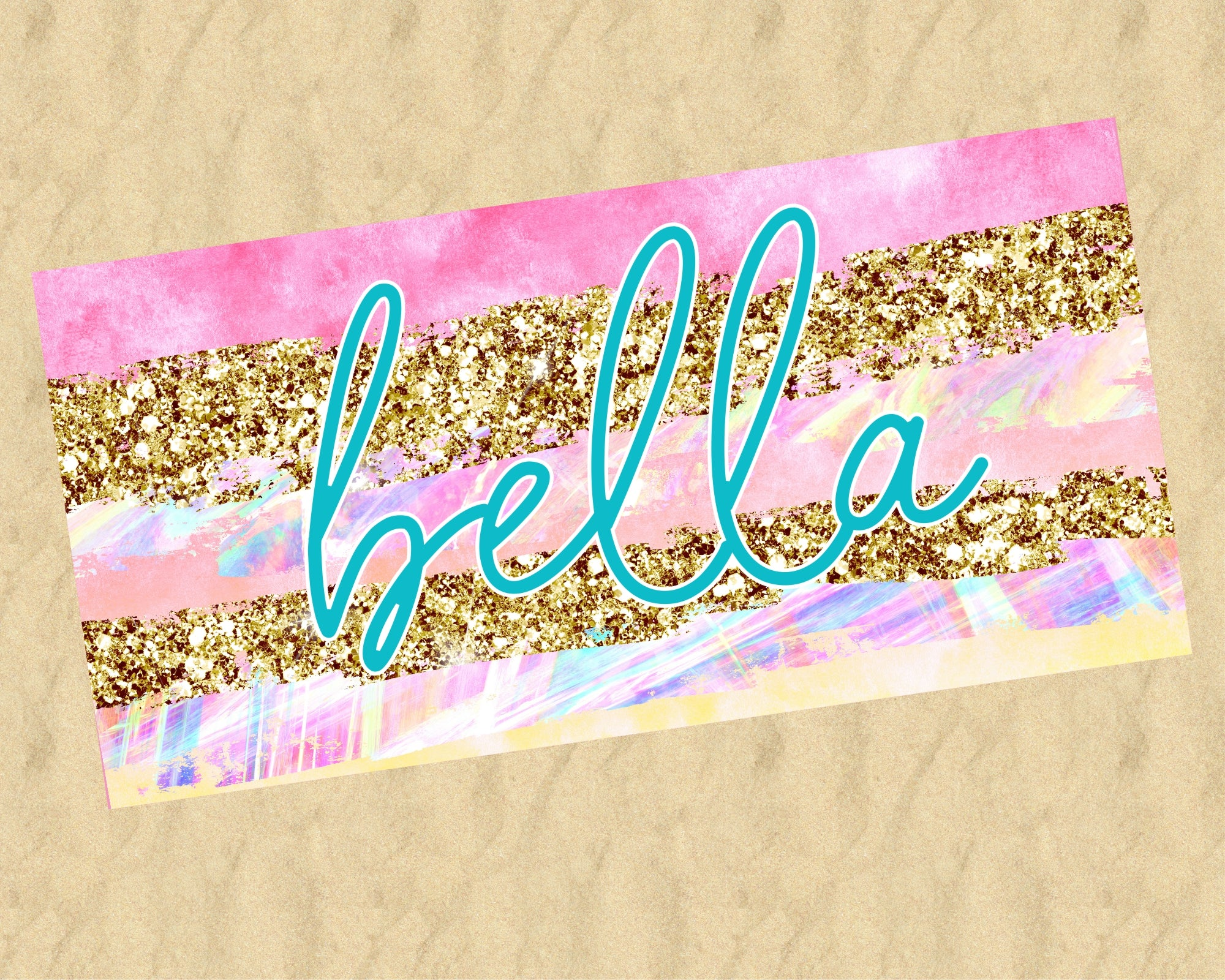 Personalized Pastel and Gold Stripes Beach Towel