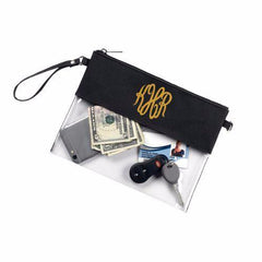Monogrammed Black Clear Zip Pouch