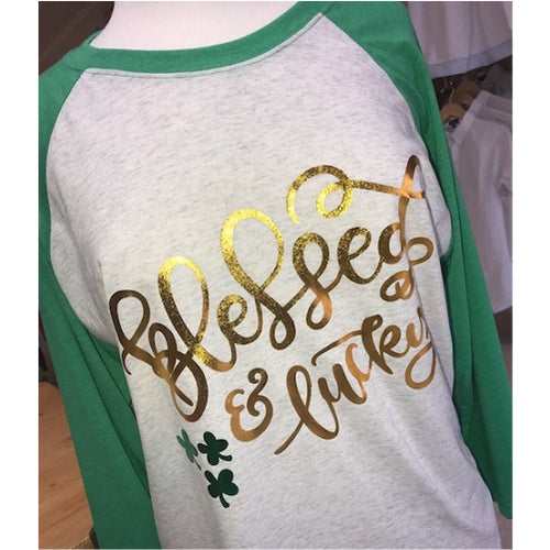 "Ladies Metallic ""Blessed & Lucky"" Raglan Shirt"