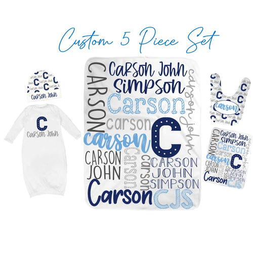 Personalized Baby Boy Set-Custom Printed Baby Blanket, Baby Gown, Baby Bib, Burp Cloth and Baby Hat