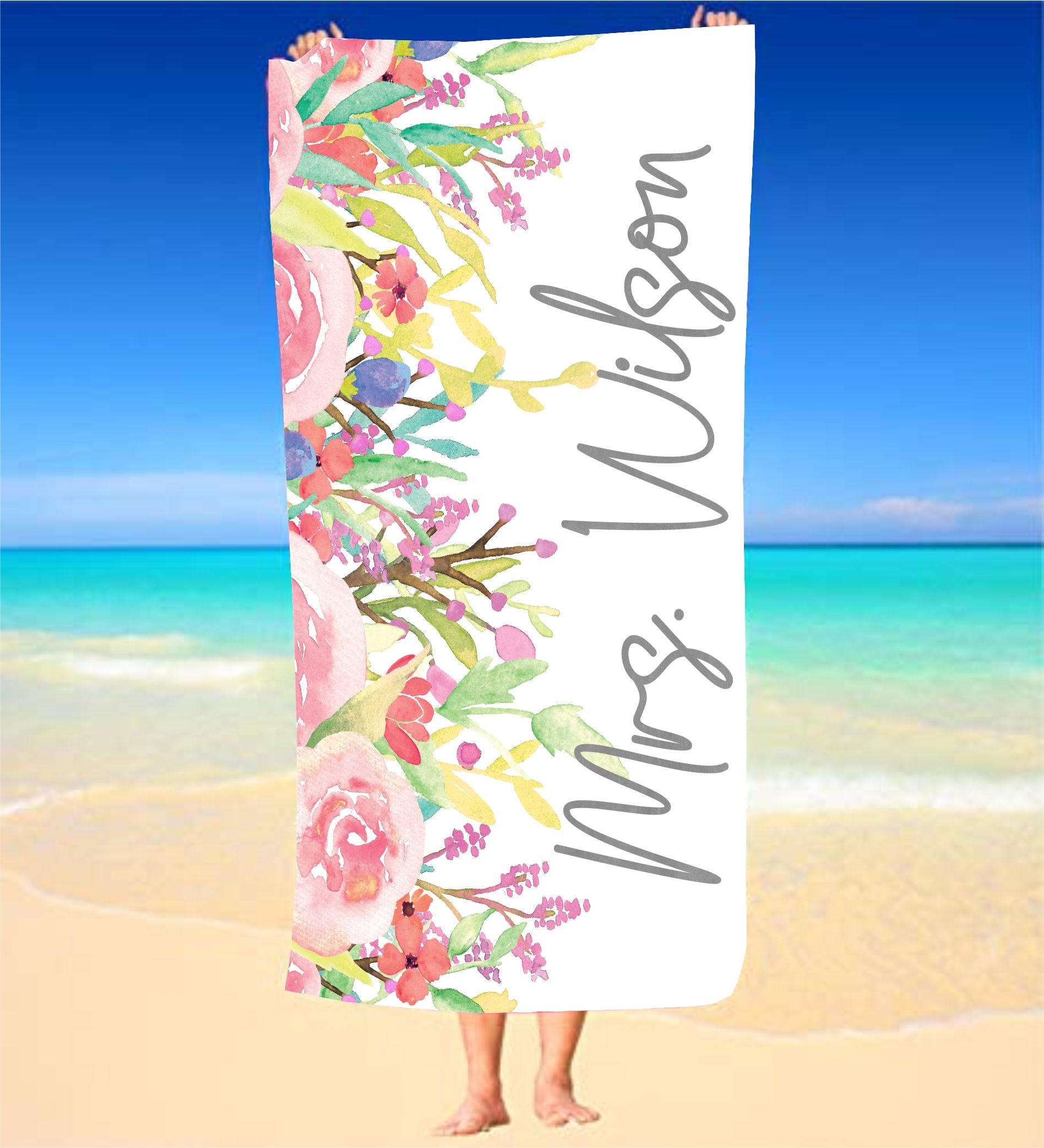 Personalized Bride  Beach Towel