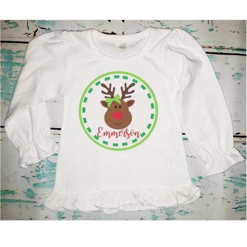Personalized Girl's Reindeer Shirt