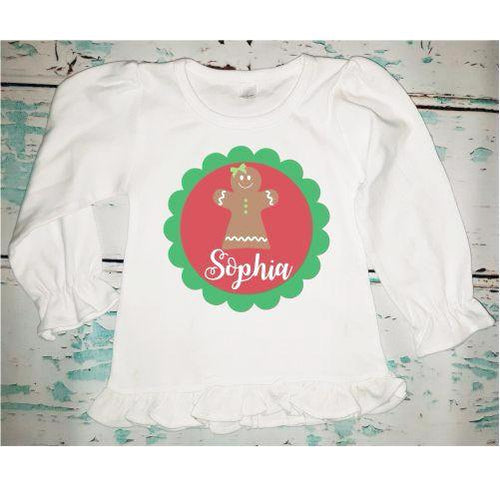 Personalized Girl's Christmas Gingerbread Shirt