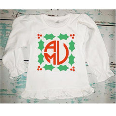 Personalized Monogrammed Girl's Christmas Holly Shirt