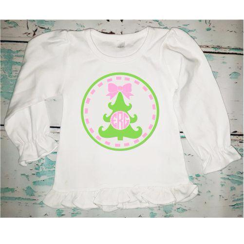 Personalized Monogrammed Girl's Christmas Tree Shirt