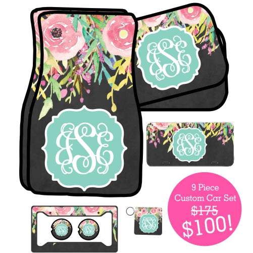 9 Piece Monogrammed Custom Car Set