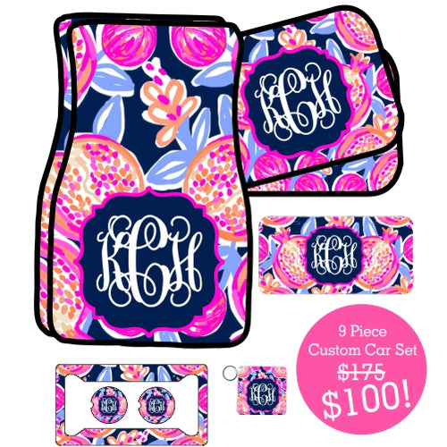 9 Piece Monogrammed Custom Car Sets (Black Friday Sale!)