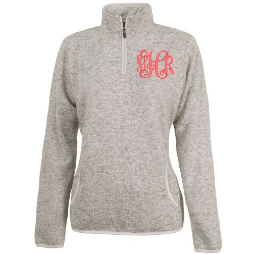Monogrammed Women's Heathered Fleece Pullover
