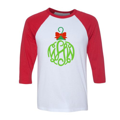 Ladies Monogrammed Christmas Ornament Raglan Shirt