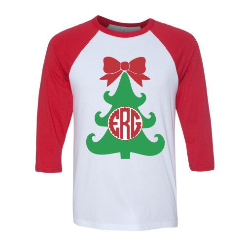 Ladies Monogrammed Christmas Tree Raglan Shirt
