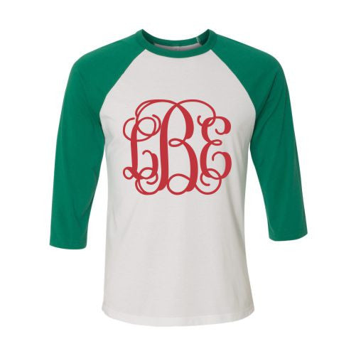 Ladies Monogrammed Raglan Shirt in Red and Green