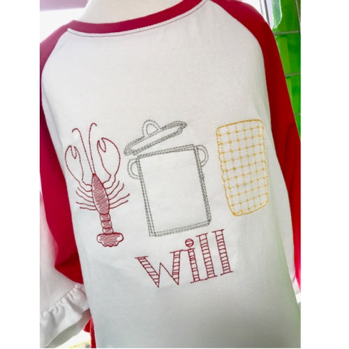 Personalized Vintage Stitch Crawfish Boil Raglan Shirt