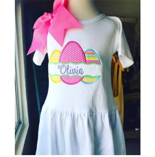 Personalized Appliqued Easter Eggs Dress