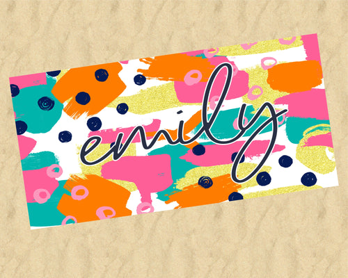 Personalized Bright Colors Beach Towel
