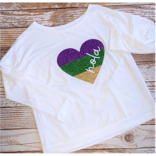 NOLA Heart Glitter Wide Neck Pullover Shirt