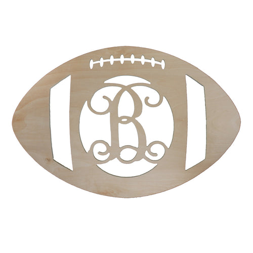 "18"" Football Wood Monogram"