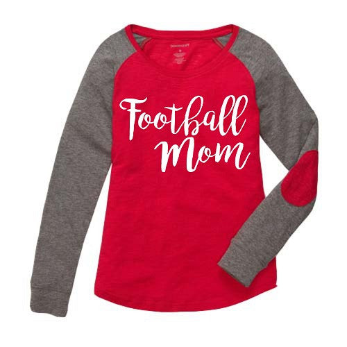 Football Mom Preppy Elbow Patch Shirt