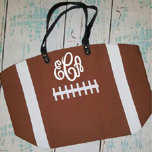 Monogrammed Football Tote Bag