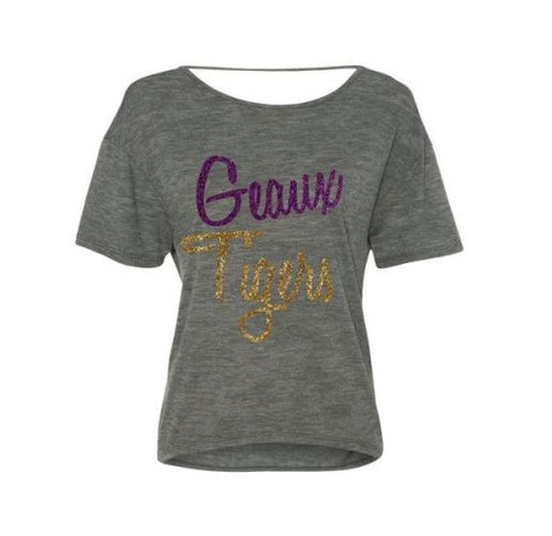 Purple and Gold GLITTER Geaux Tigers Flowy Shirt-LSU Football SUPER CUTE!
