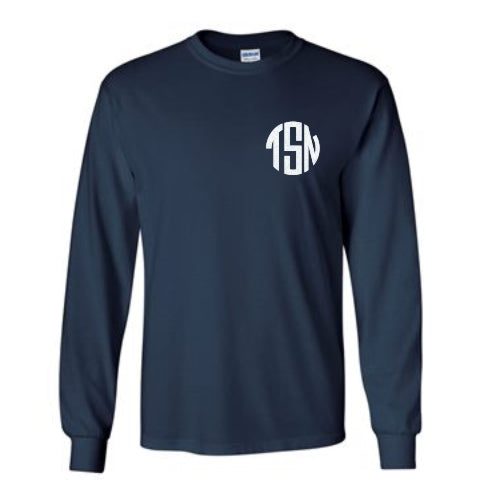 Long Sleeve Tee With Left Chest White Glitter Monogram