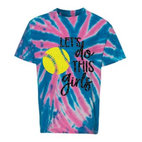 tie dye neon softball shirt