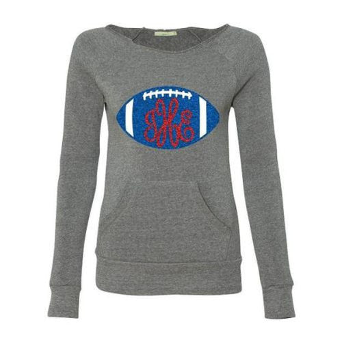 Monogrammed GLITTER FOOTBALL Slouchy Off Shoulder Sweatshirt-Pick your TEAM Colors!