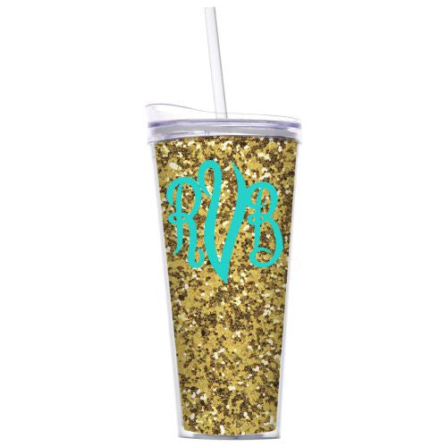 Monogrammed Gold Glitter Tumbler with Lid and Straw
