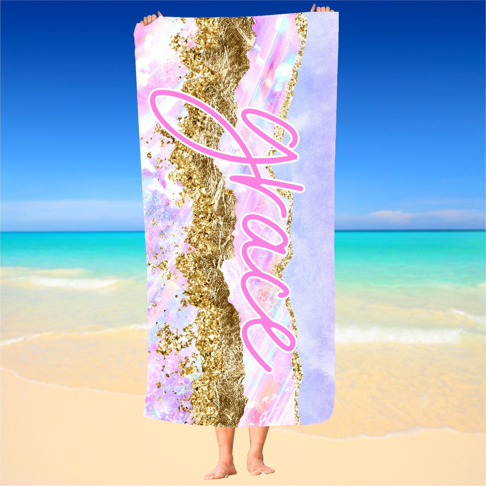 Personalized Pastel and Gold Beach Towel
