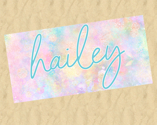 Personalized Pastel Rainbow Beach Towel
