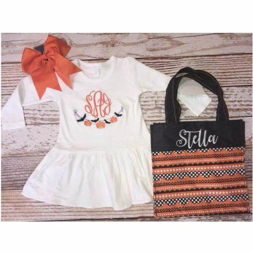 Monogrammed Halloween Bunting Dress