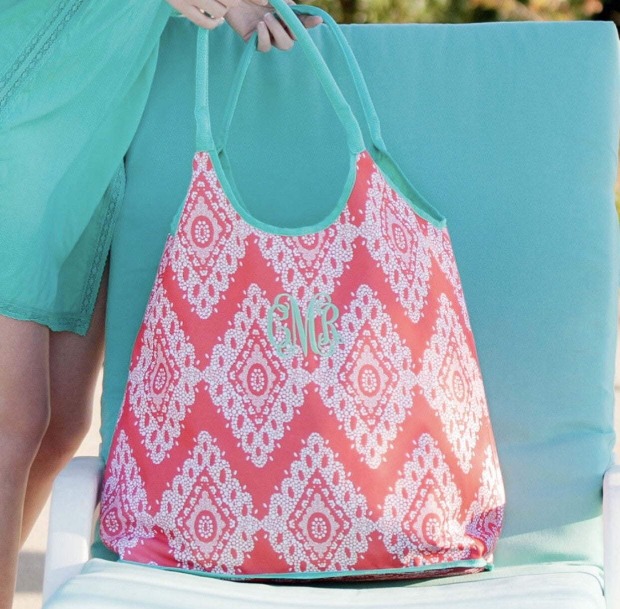 Monogrammed Coral Cove Beach Tote Bag