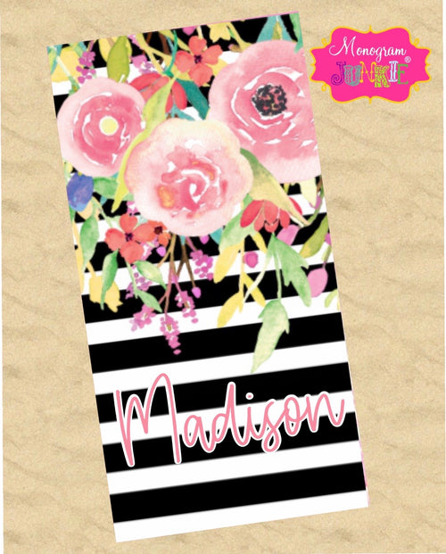 Personalized Floral Stripe Beach Towel