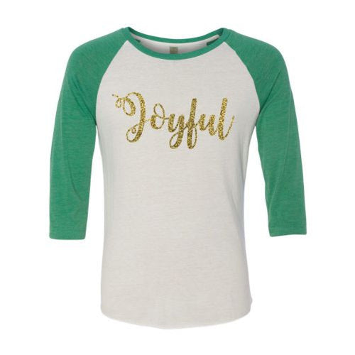 "Ladies Glitter ""Joyful"" Raglan Shirt"