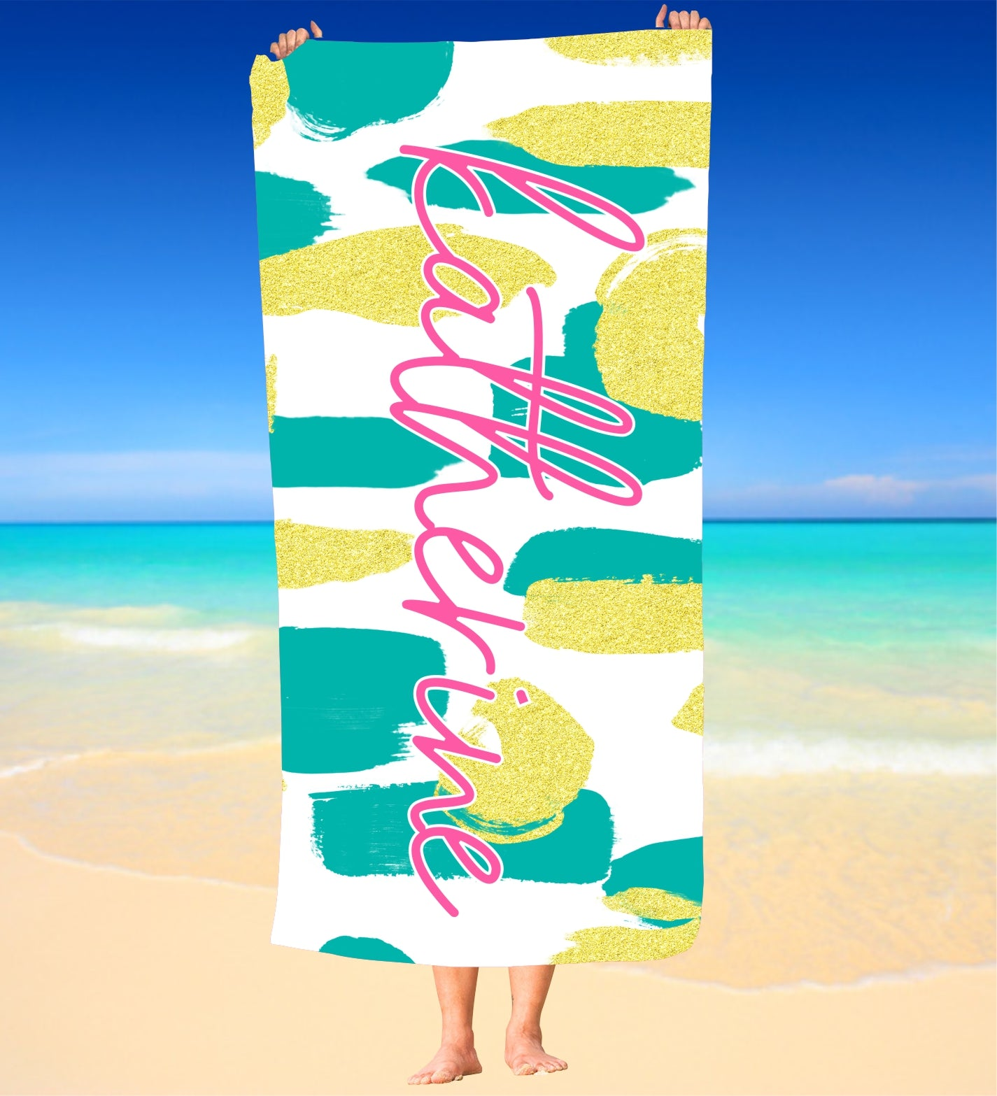 Personalized Aqua and Gold  Beach Towel