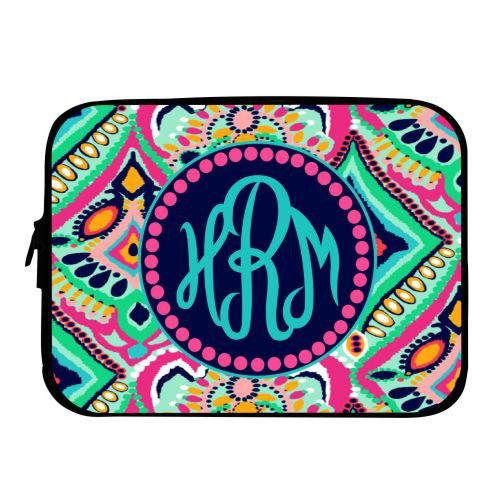 Monogrammed Lilly Inspired Crown Jewels Laptop Case