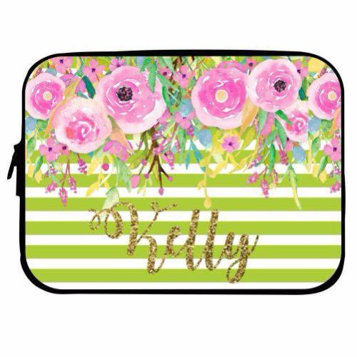 Personalized Floral Laptop Case with Glitter Name
