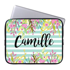 Personalized Aqua Floral Laptop Case