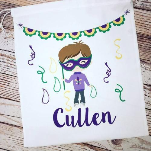 Personalized Mardi Gras Bead Bag