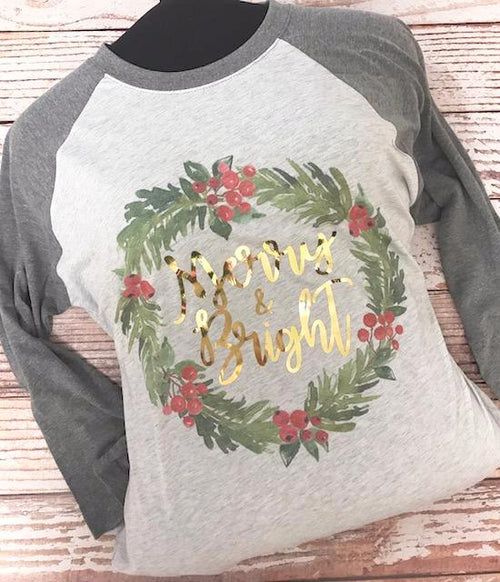 Ladies Merry & Bright Raglan Shirt