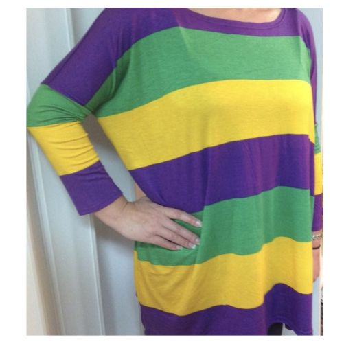 Ladies Mardi Gras Stripe Tunic Shirt