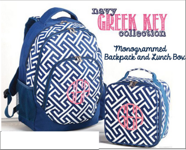 Monogrammed Navy and White Greek Key Backpack with matching Lunchbox
