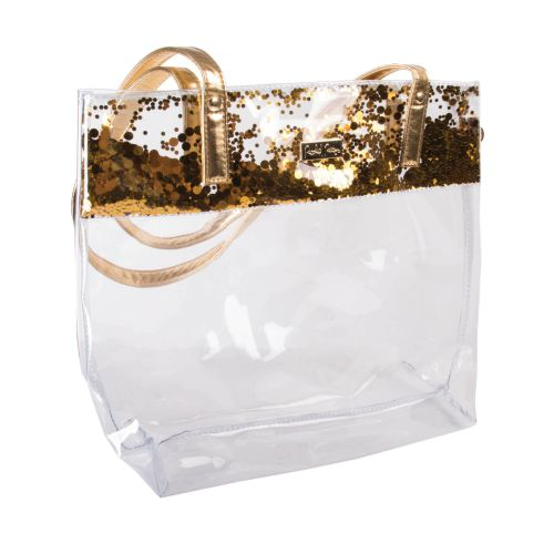 Gold Confetti Glitter Clear Tote Bag STADIUM APPROVED!