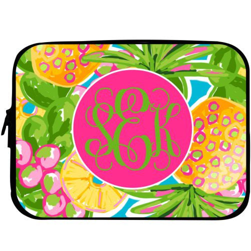 Monogrammed Preppy Pineapple Laptop Case
