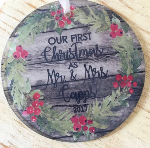 Personalized Christmas Ornament-Our First year as Mr & Mrs.