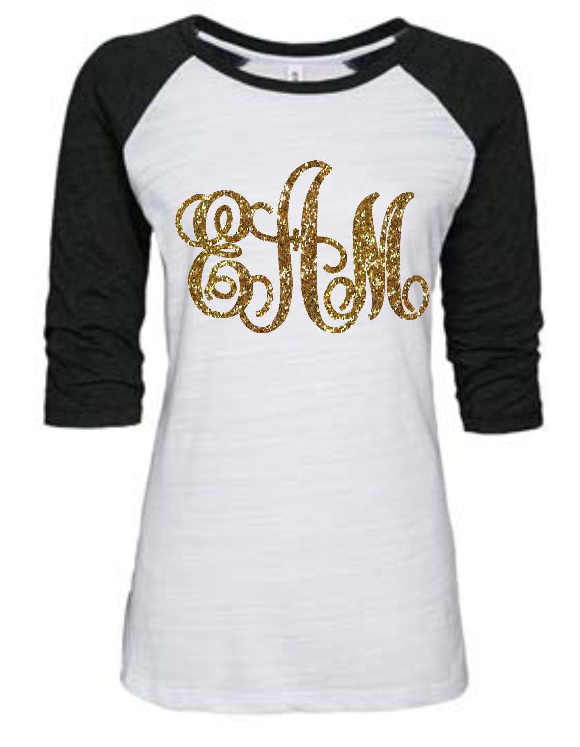 Ladies Glitter Monogram Vintage Raglan Shirt