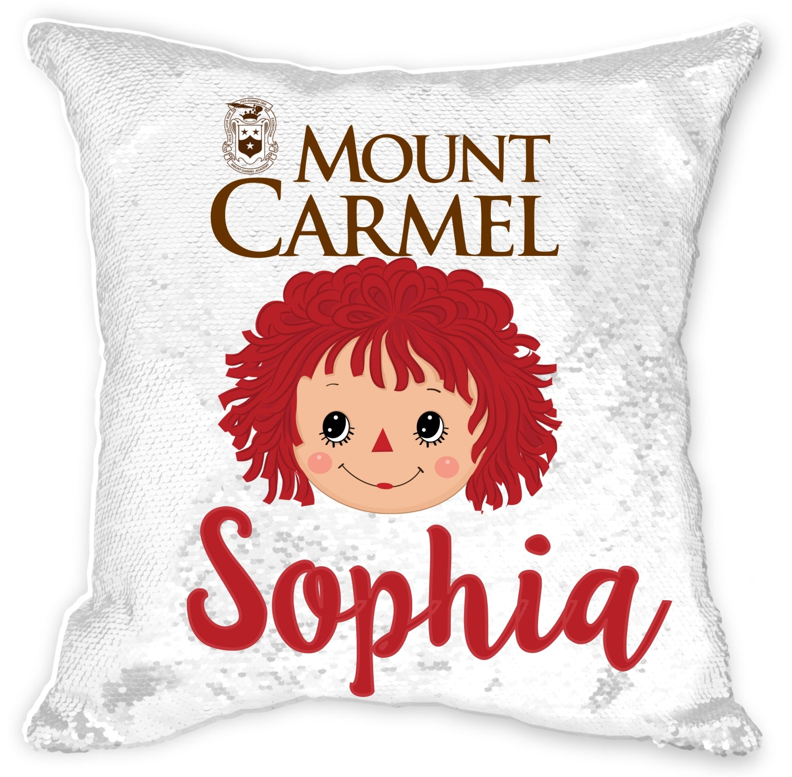 Personalized Mount Carmel Sequin Pillowcase