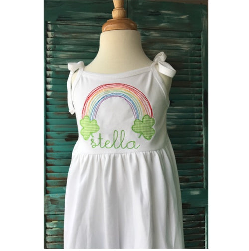 Personalized Rainbow Shamrock St. Patrick's Day Dress